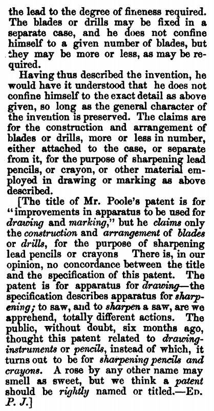 Moses Poole patent 2